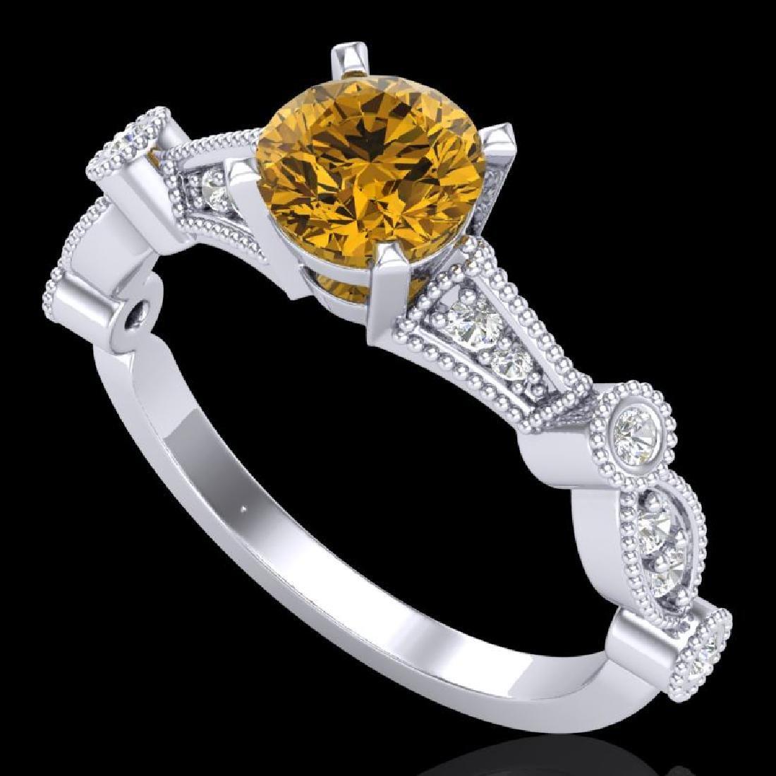 1.03 CTW Intense Fancy Yellow Diamond Engagement Art