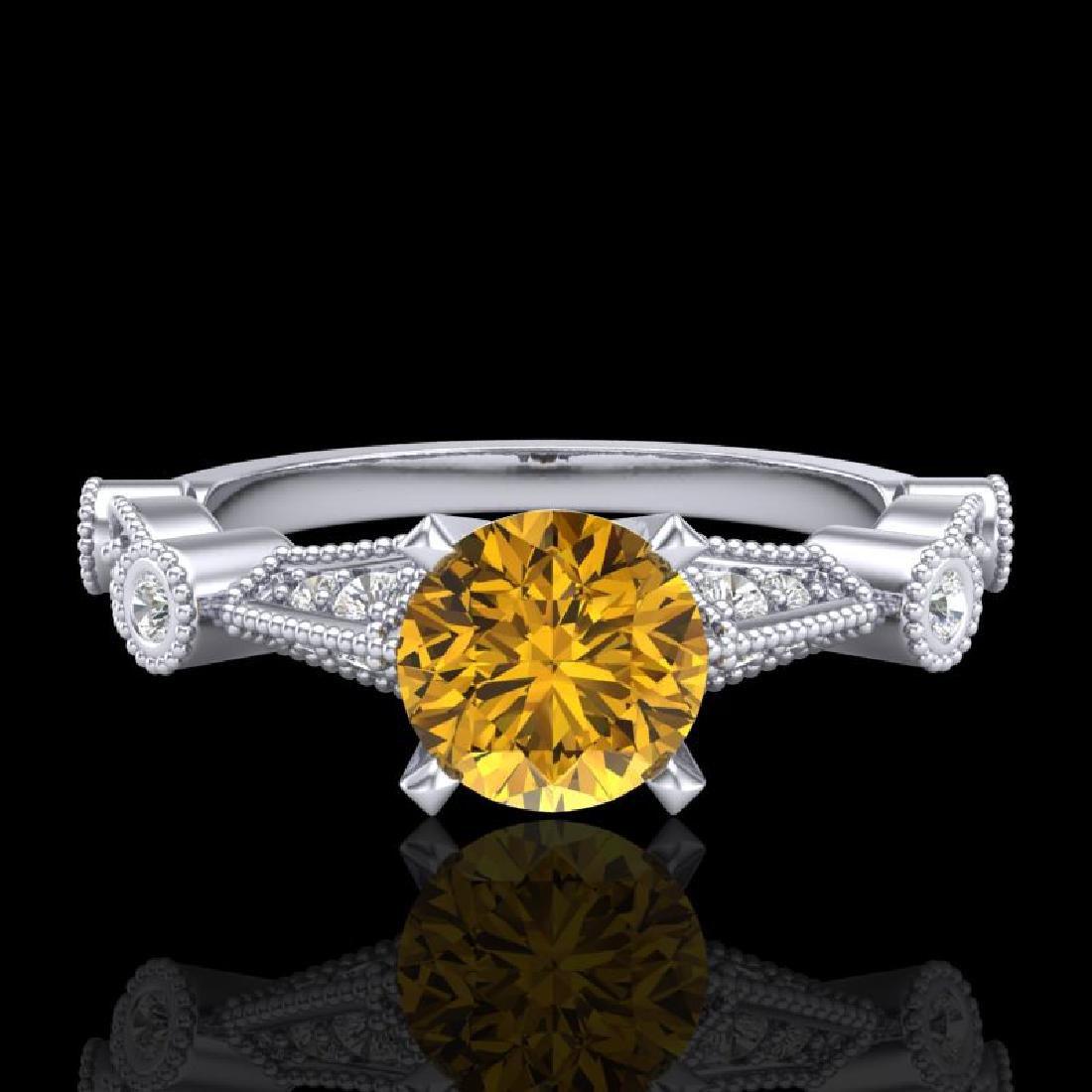 1.03 CTW Intense Fancy Yellow Diamond Engagement Art - 2