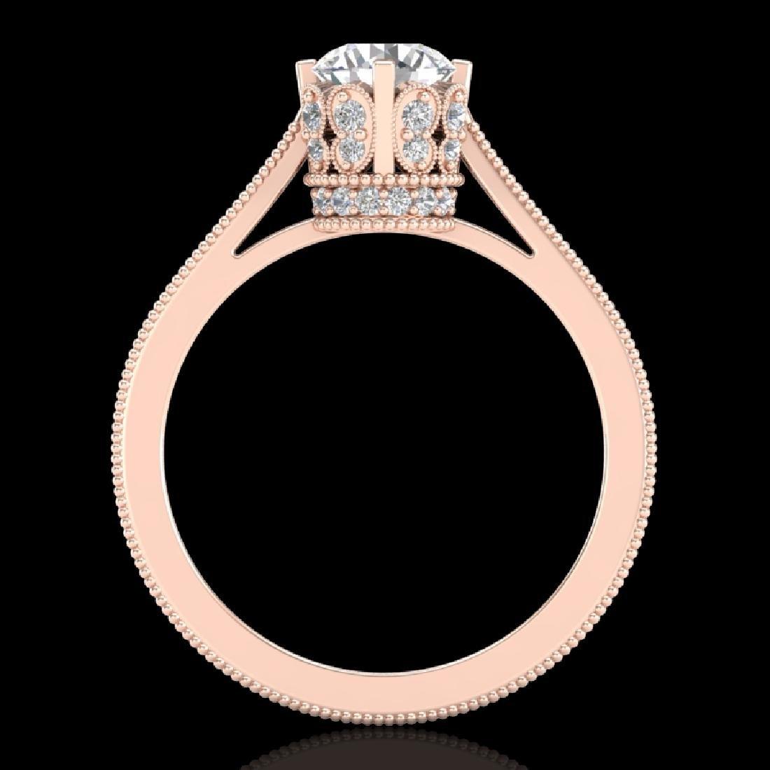 1.14 CTW VS/SI Diamond Solitaire Art Deco Ring 18K Rose - 2