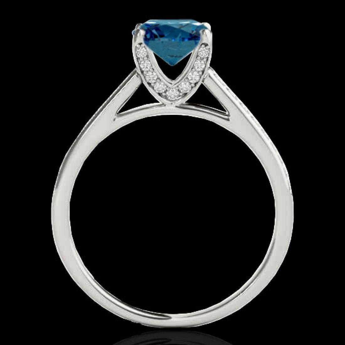 2 CTW SI Certified Fancy Blue Diamond Solitaire Ring - 2