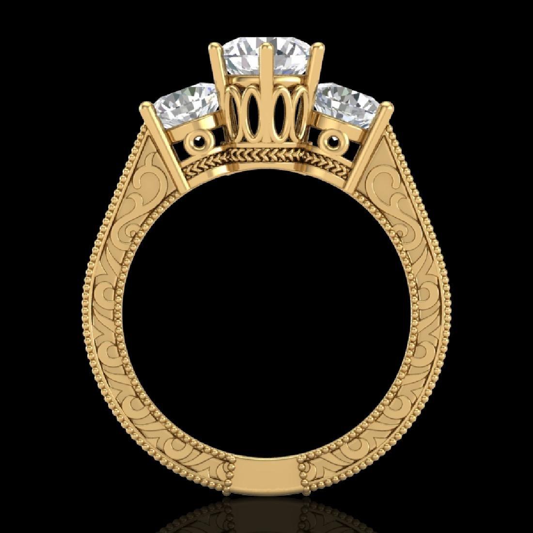 2.01 CTW VS/SI Diamond Solitaire Art Deco 3 Stone Ring