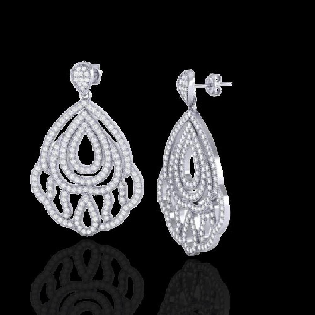 3 CTW Micro Pave VS/SI Diamond Earrings Designer 18K - 2