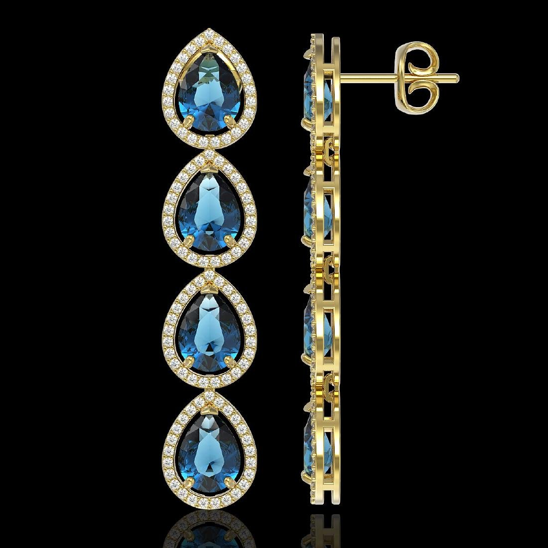 11.2 CTW London Topaz & Diamond Halo Earrings 10K - 2