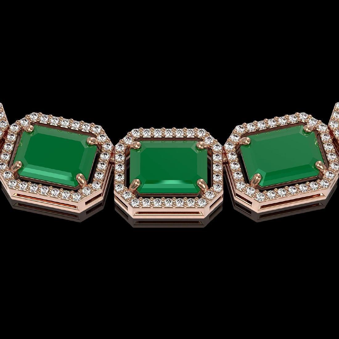 84.94 CTW Emerald & Diamond Halo Necklace 10K Rose Gold - 3
