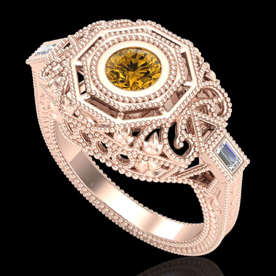 0.75 CTW Intense Fancy Yellow Diamond Engagement Art
