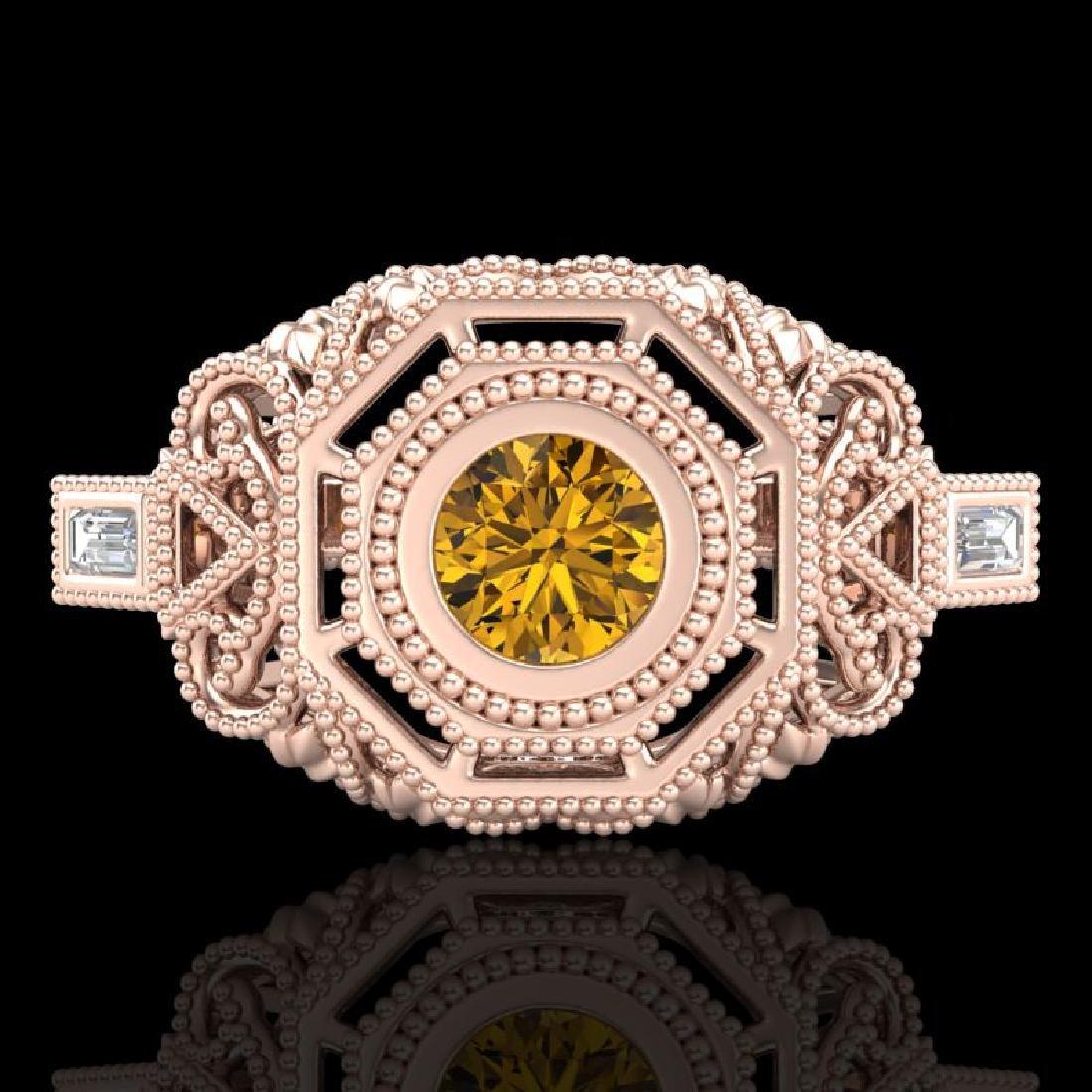 0.75 CTW Intense Fancy Yellow Diamond Engagement Art - 2
