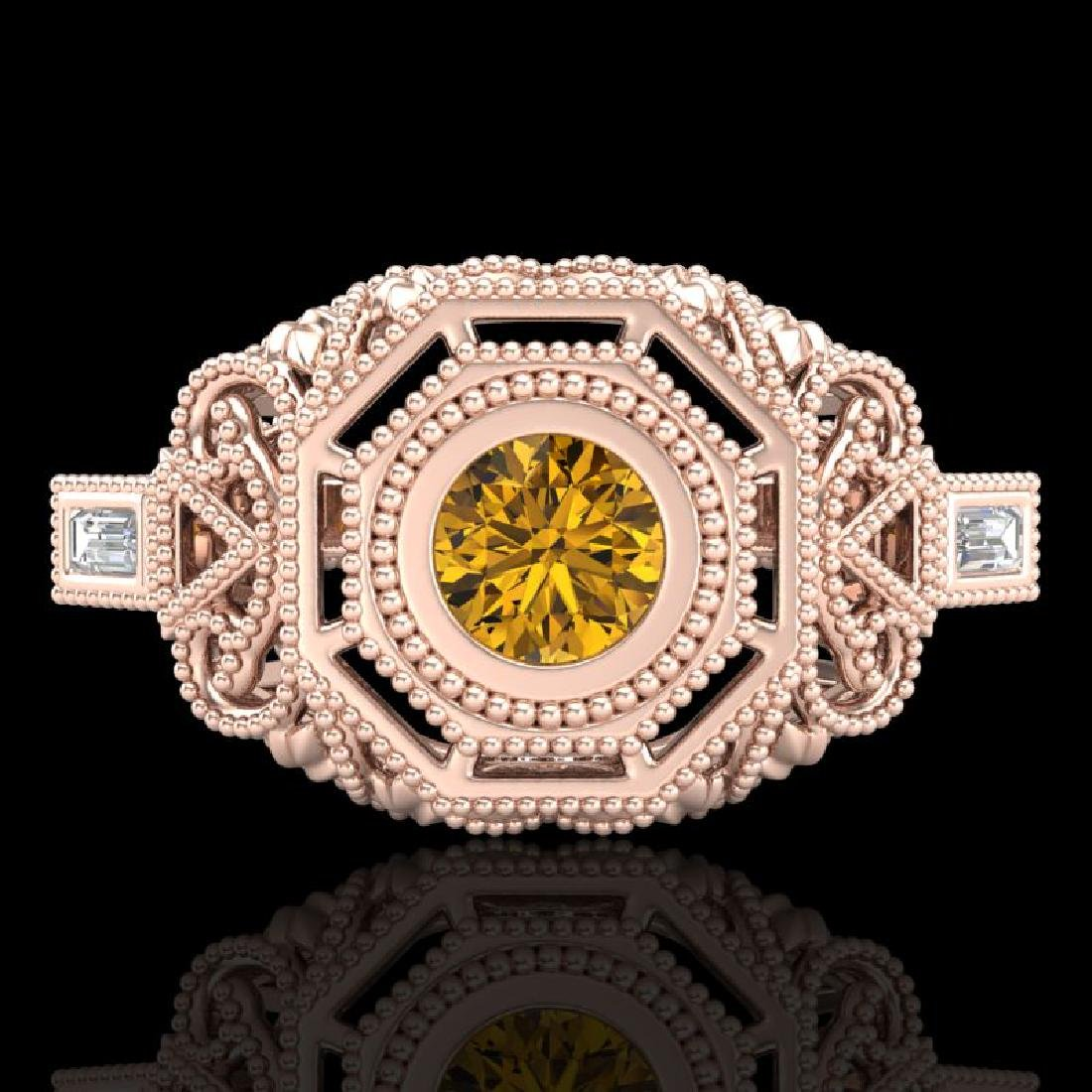 0.75 CTW Intense Fancy Yellow Diamond Engagement Art - 2