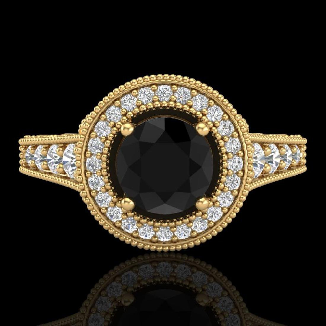 1.12 CTW Fancy Black Diamond Solitaire Engagement Art - 2