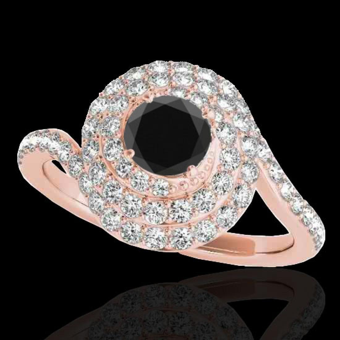 2.11 CTW Certified VS Black Diamond Solitaire Halo Ring