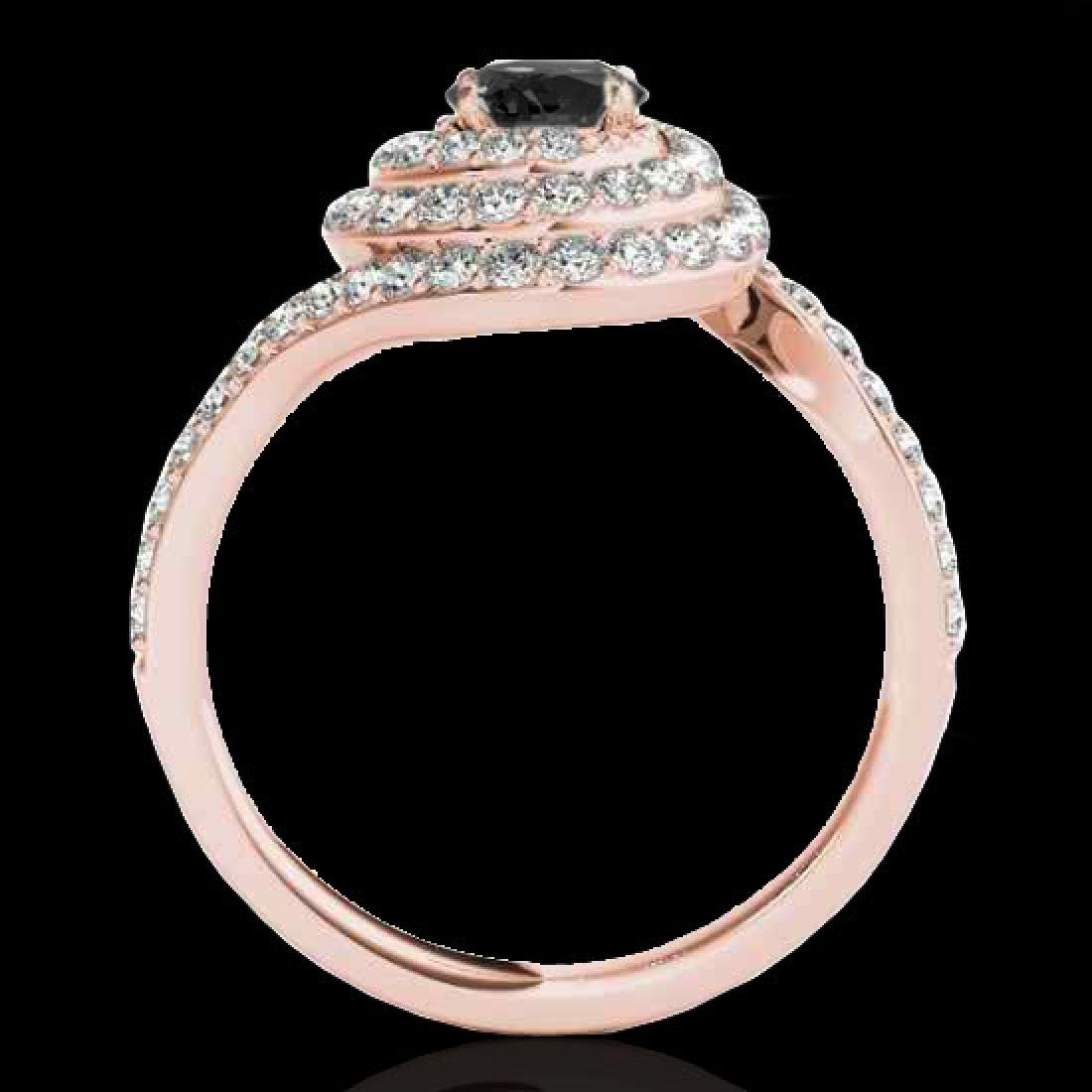 2.11 CTW Certified VS Black Diamond Solitaire Halo Ring - 2