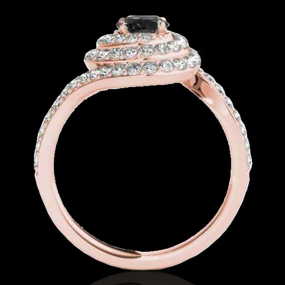 2.11 CTW Certified VS Black Diamond Solitaire Halo Ring - 2