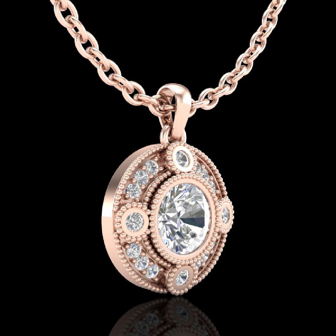 1.01 CTW VS/SI Diamond Solitaire Art Deco Stud Necklace - 2