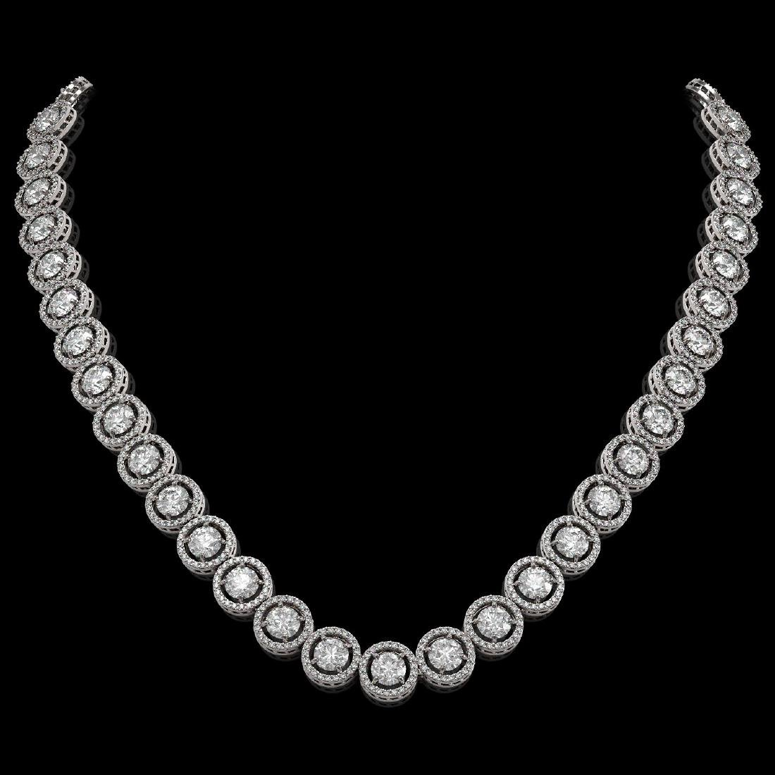30.78 CTW Diamond Designer Necklace 18K White Gold