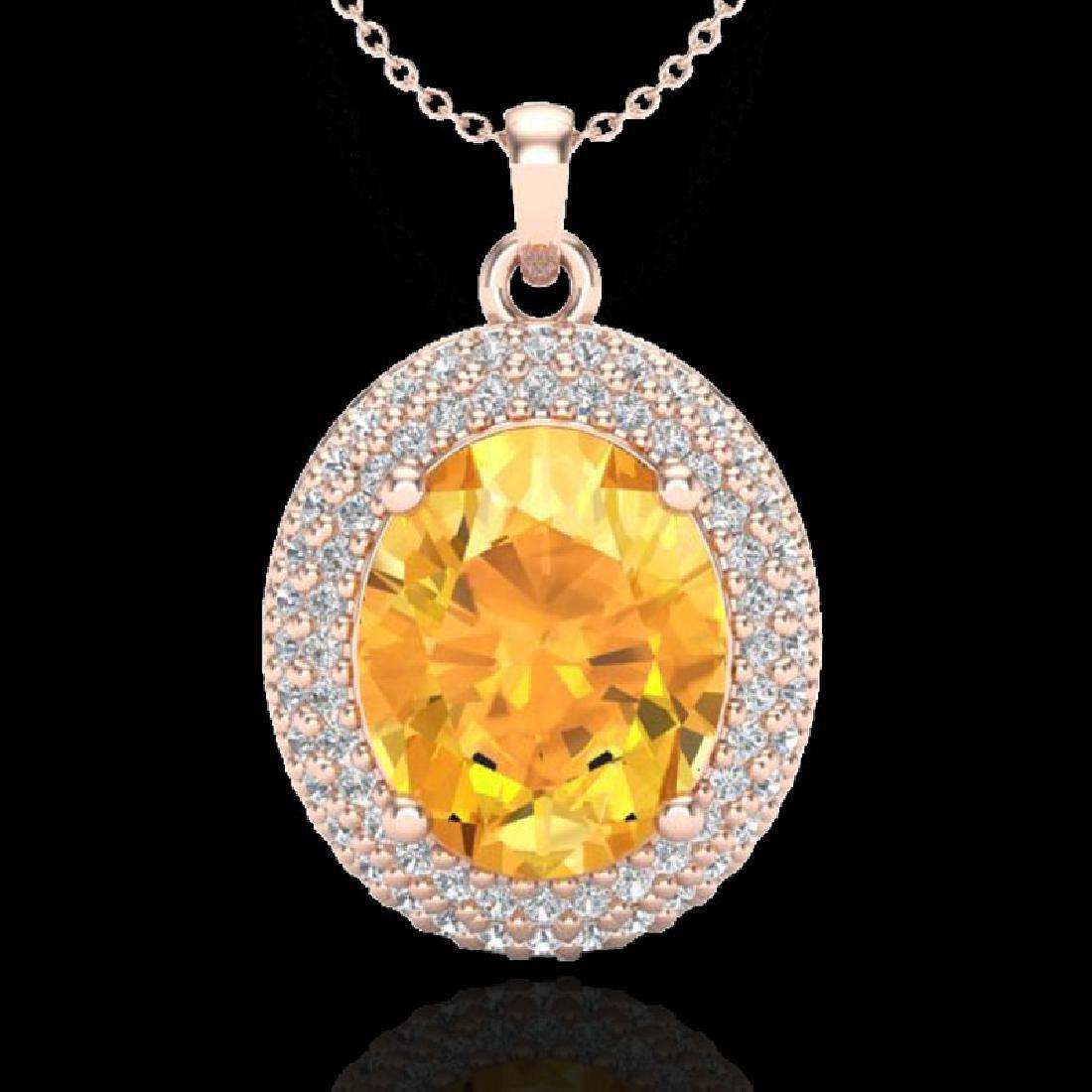 4 CTW Citrine & Micro Pave VS/SI Diamond Necklace 14K