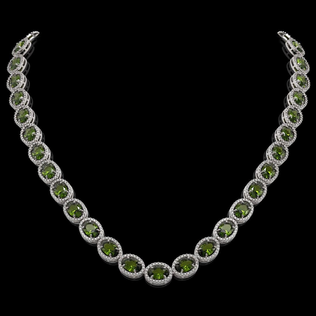 49.46 CTW Tourmaline & Diamond Halo Necklace 10K White
