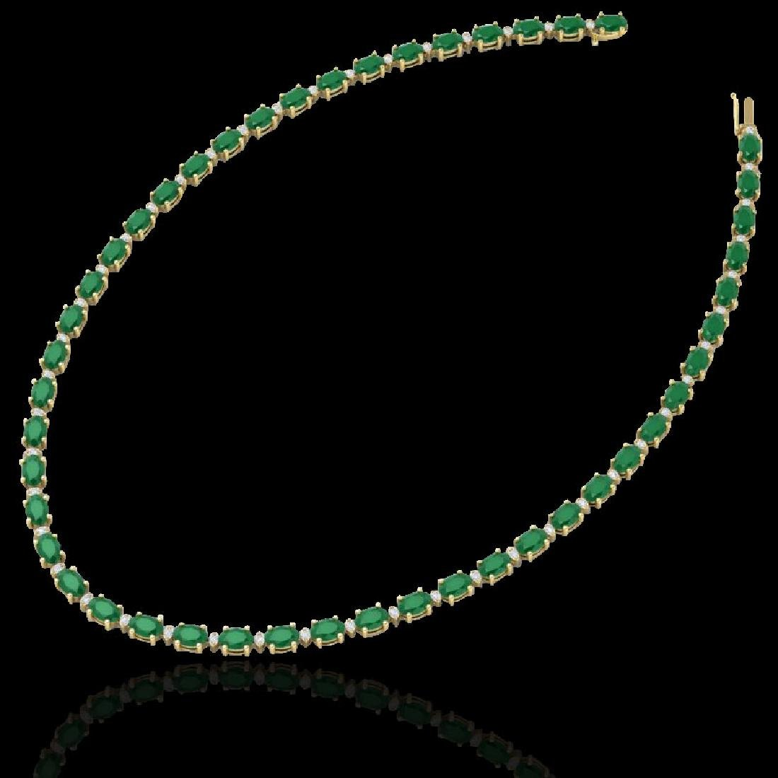 35 CTW Emerald & VS/SI Diamond Eternity Tennis Necklace - 2