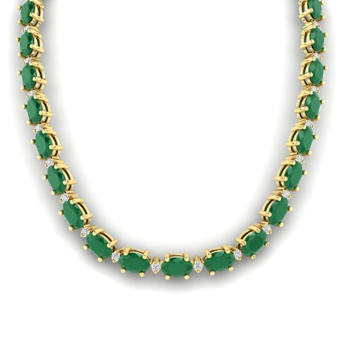 35 CTW Emerald & VS/SI Diamond Eternity Tennis Necklace - 3