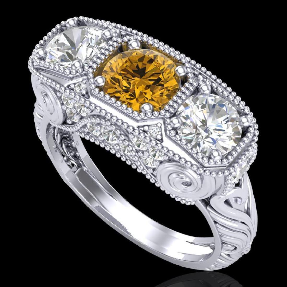 2.51 CTW Intense Fancy Yellow Diamond Art Deco 3 Stone