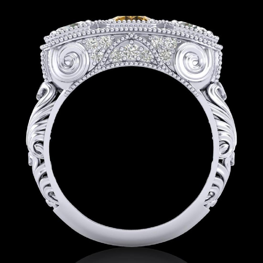 2.51 CTW Intense Fancy Yellow Diamond Art Deco 3 Stone - 3