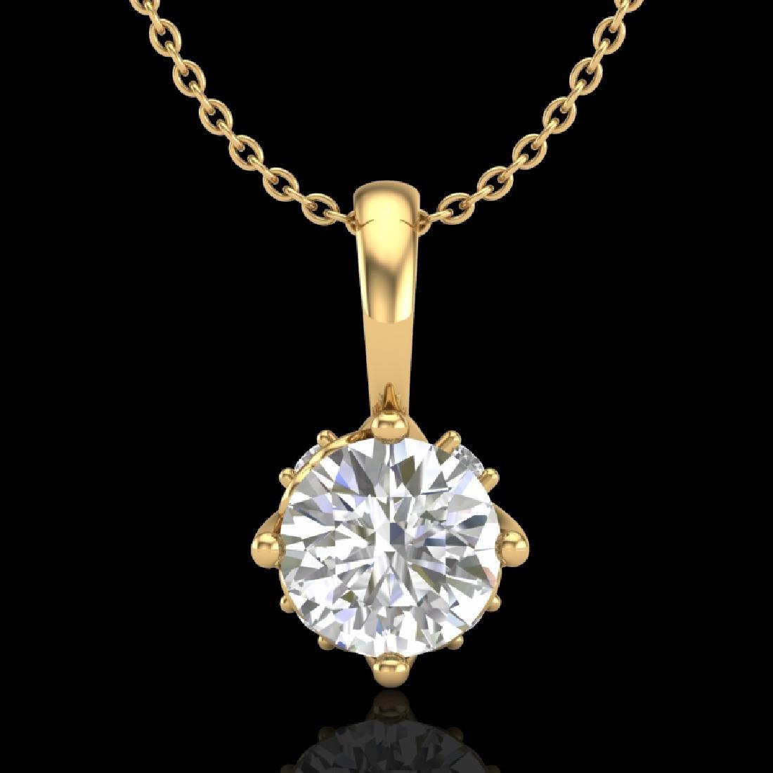 0.62 CTW VS/SI Diamond Art Deco Stud Necklace 18K