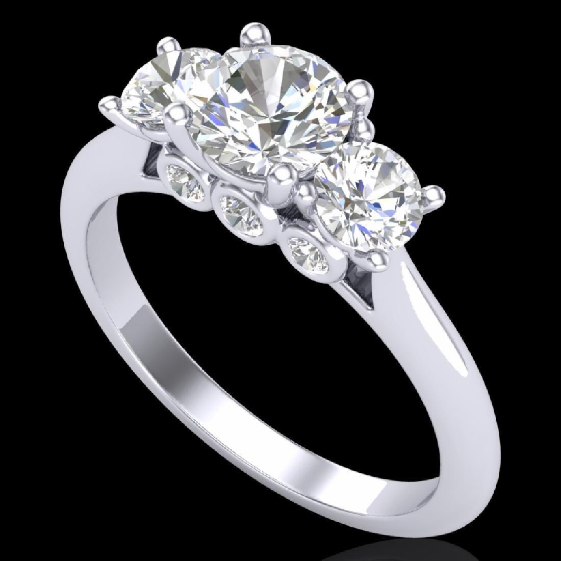 1.5 CTW VS/SI Diamond Solitaire Art Deco 3 Stone Ring