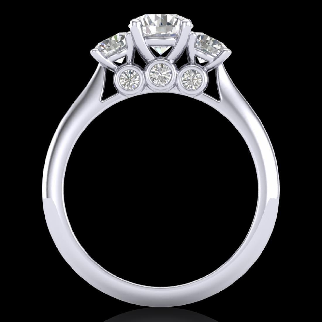 1.5 CTW VS/SI Diamond Solitaire Art Deco 3 Stone Ring - 2
