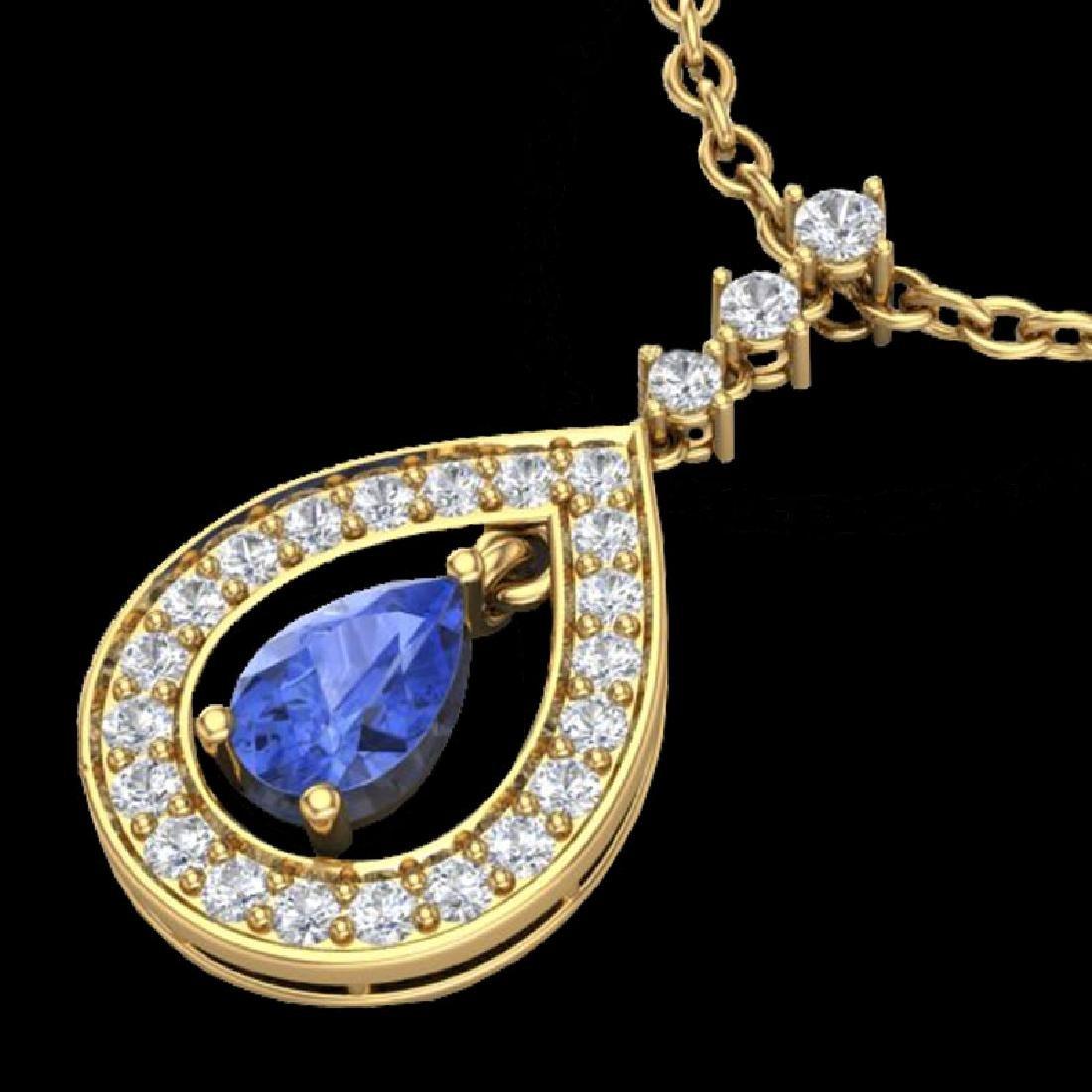 1.15 CTW Tanzanite & Micro Pave VS/SI Diamond Necklace