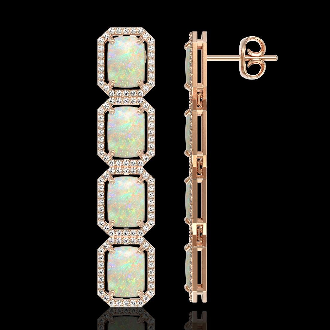 12.99 CTW Opal & Diamond Halo Earrings 10K Rose Gold - 2