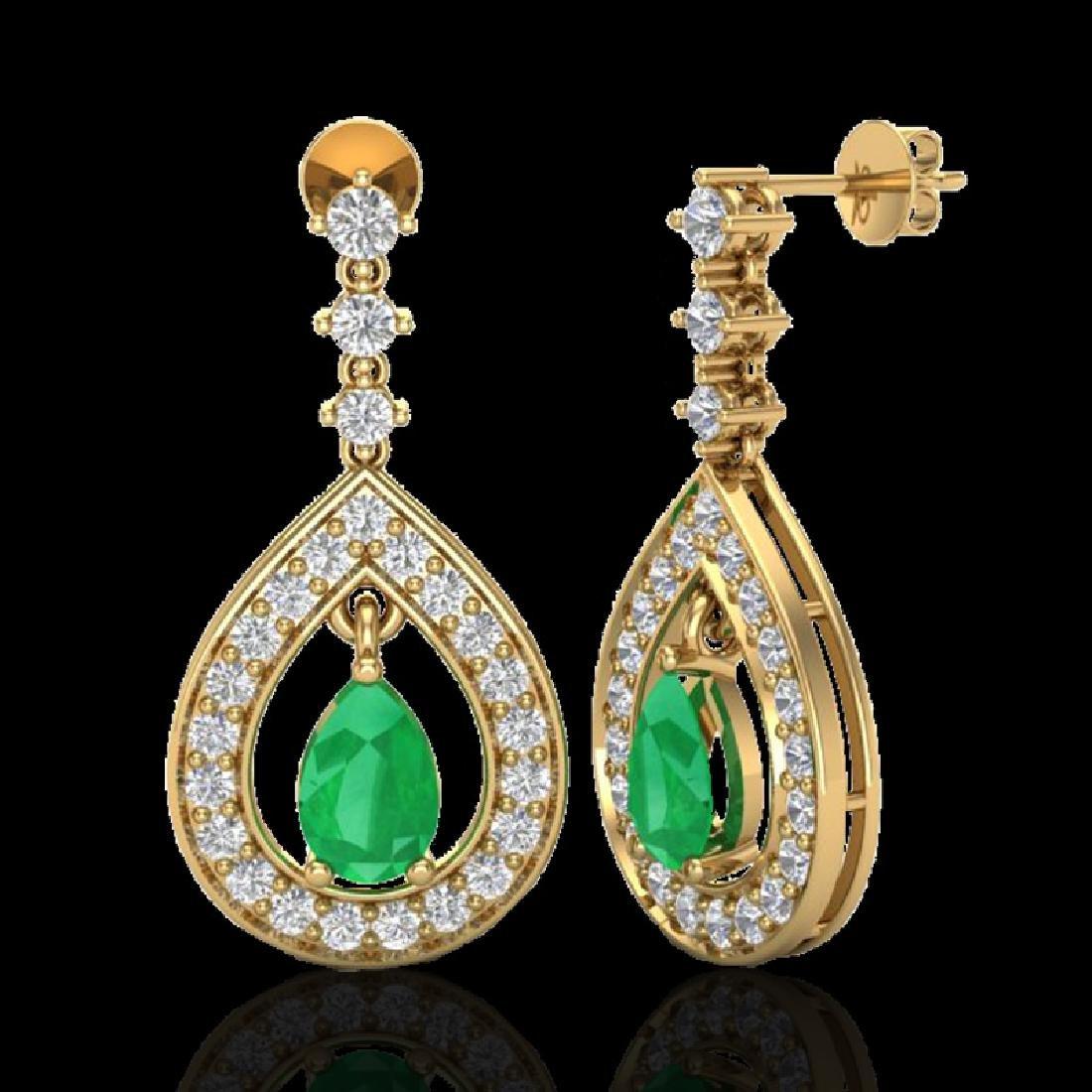2.25 CTW Emerald & Micro Pave VS/SI Diamond Earrings - 2