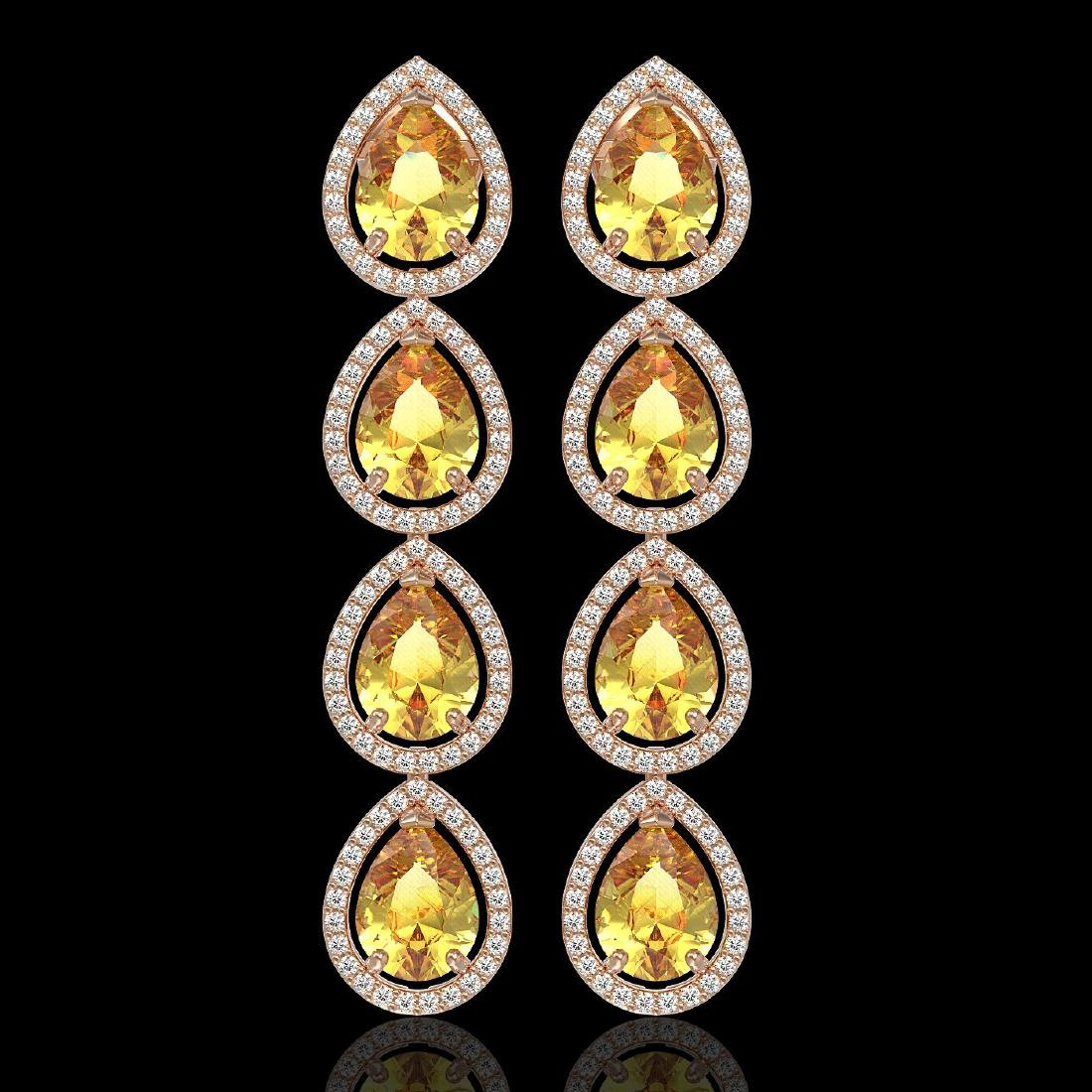 9.2 CTW Fancy Citrine & Diamond Halo Earrings 10K Rose
