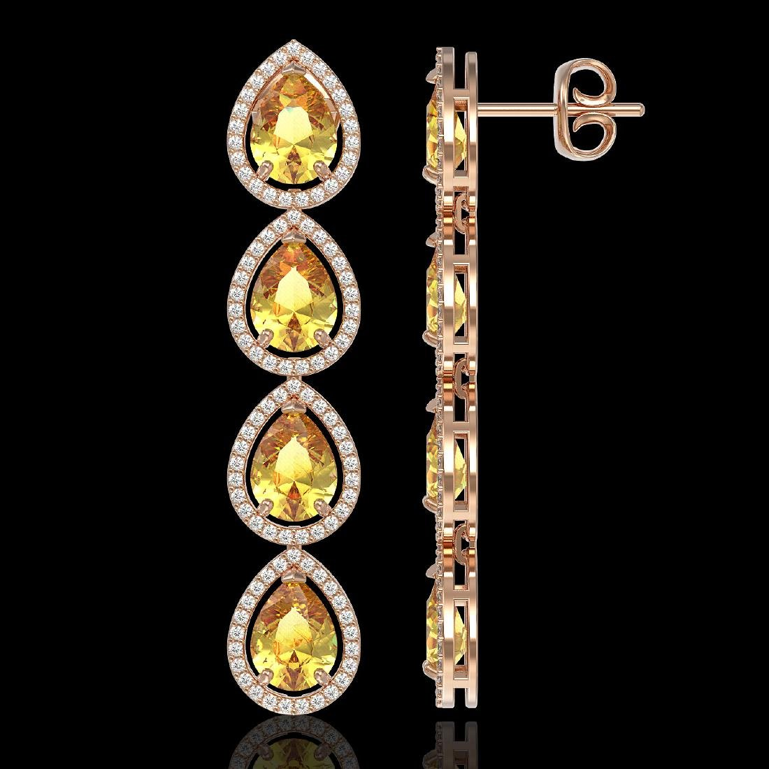 9.2 CTW Fancy Citrine & Diamond Halo Earrings 10K Rose - 2
