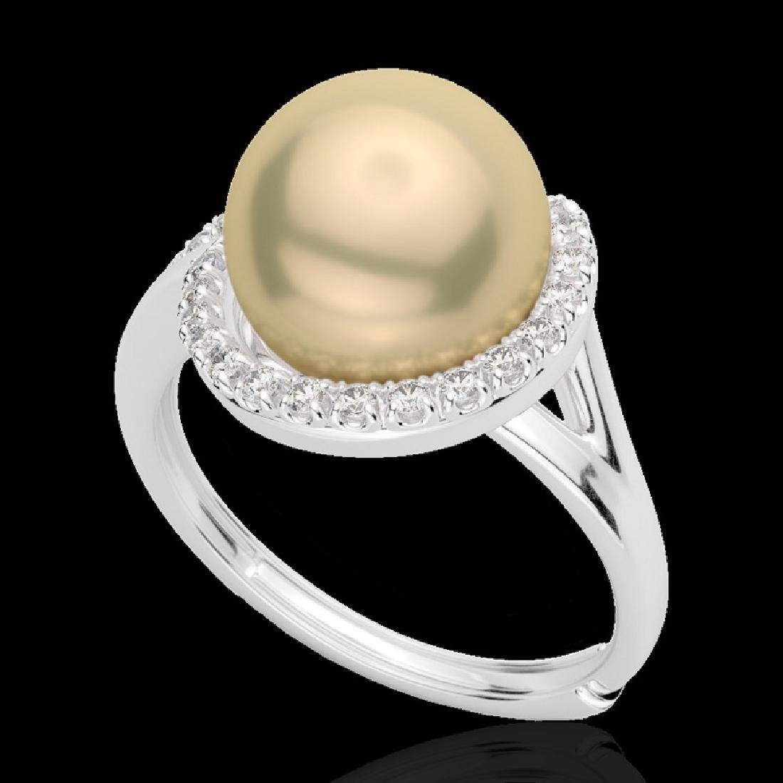 0.27 CTW VS/SI Diamond & Golden Pearl Designer Ring 18K - 2