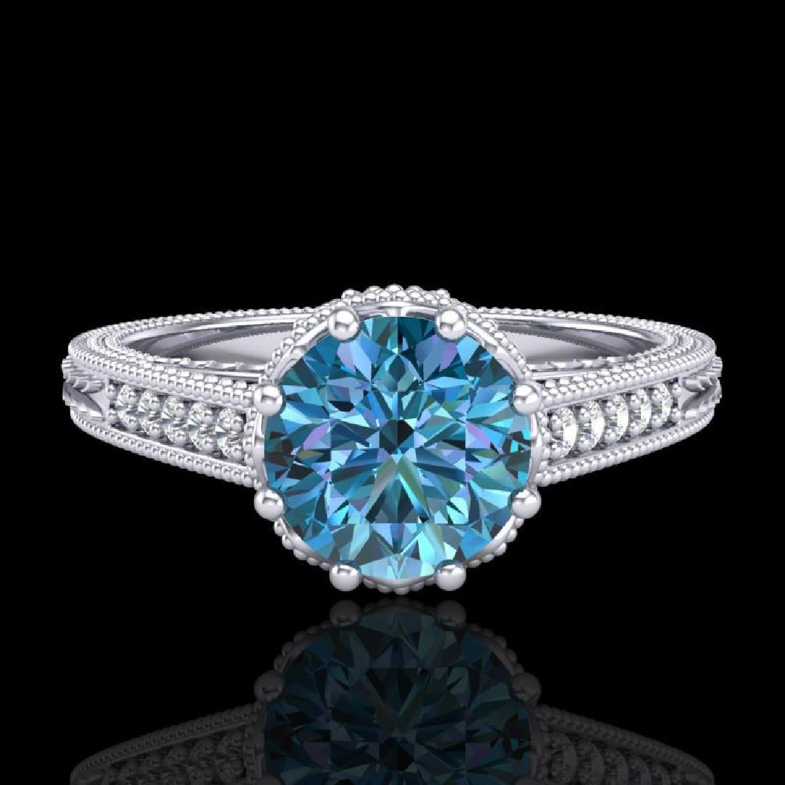 1.25 CTW Fancy Intense Blue Diamond Solitaire Art Deco - 2