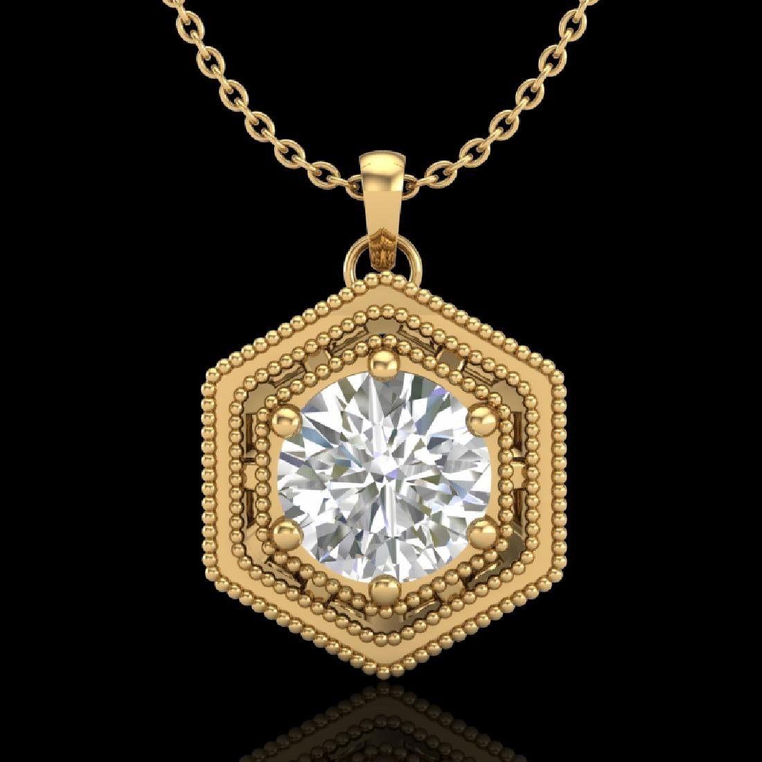 0.76 CTW VS/SI Diamond Solitaire Art Deco Necklace 18K