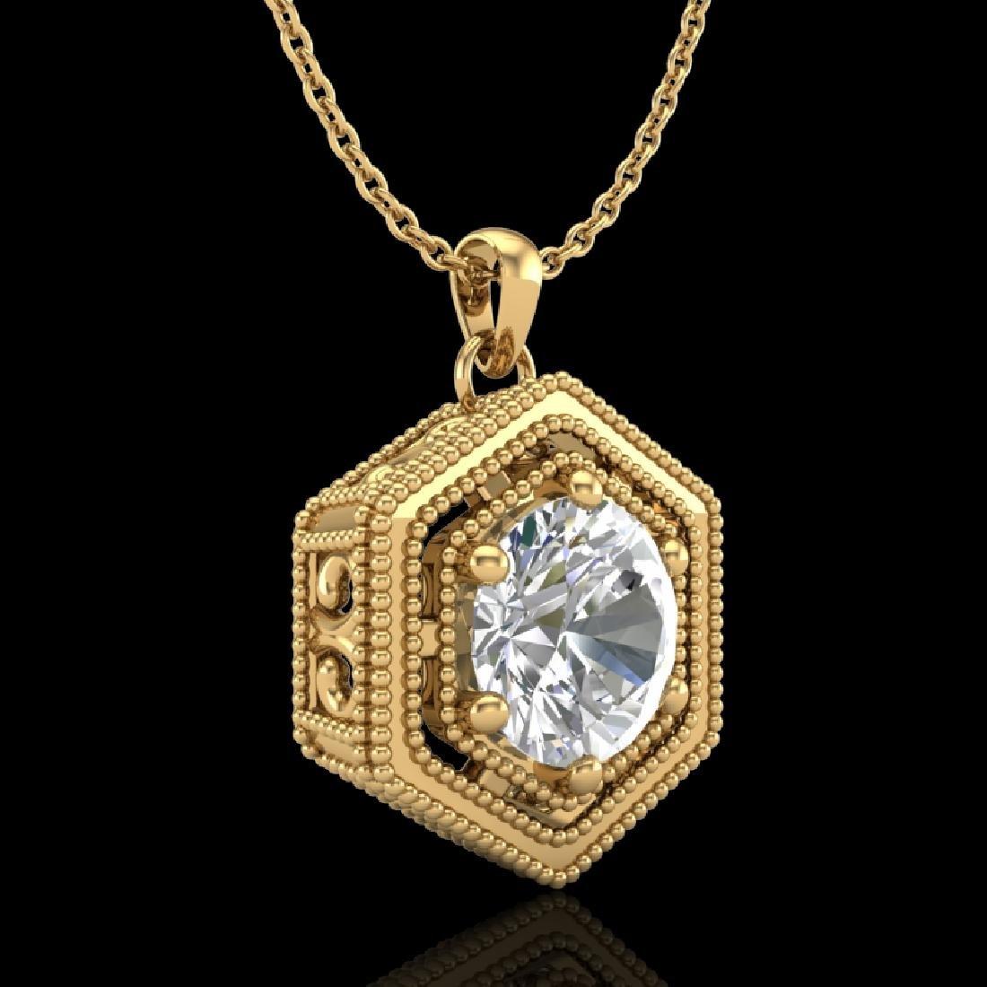 0.76 CTW VS/SI Diamond Solitaire Art Deco Necklace 18K - 3