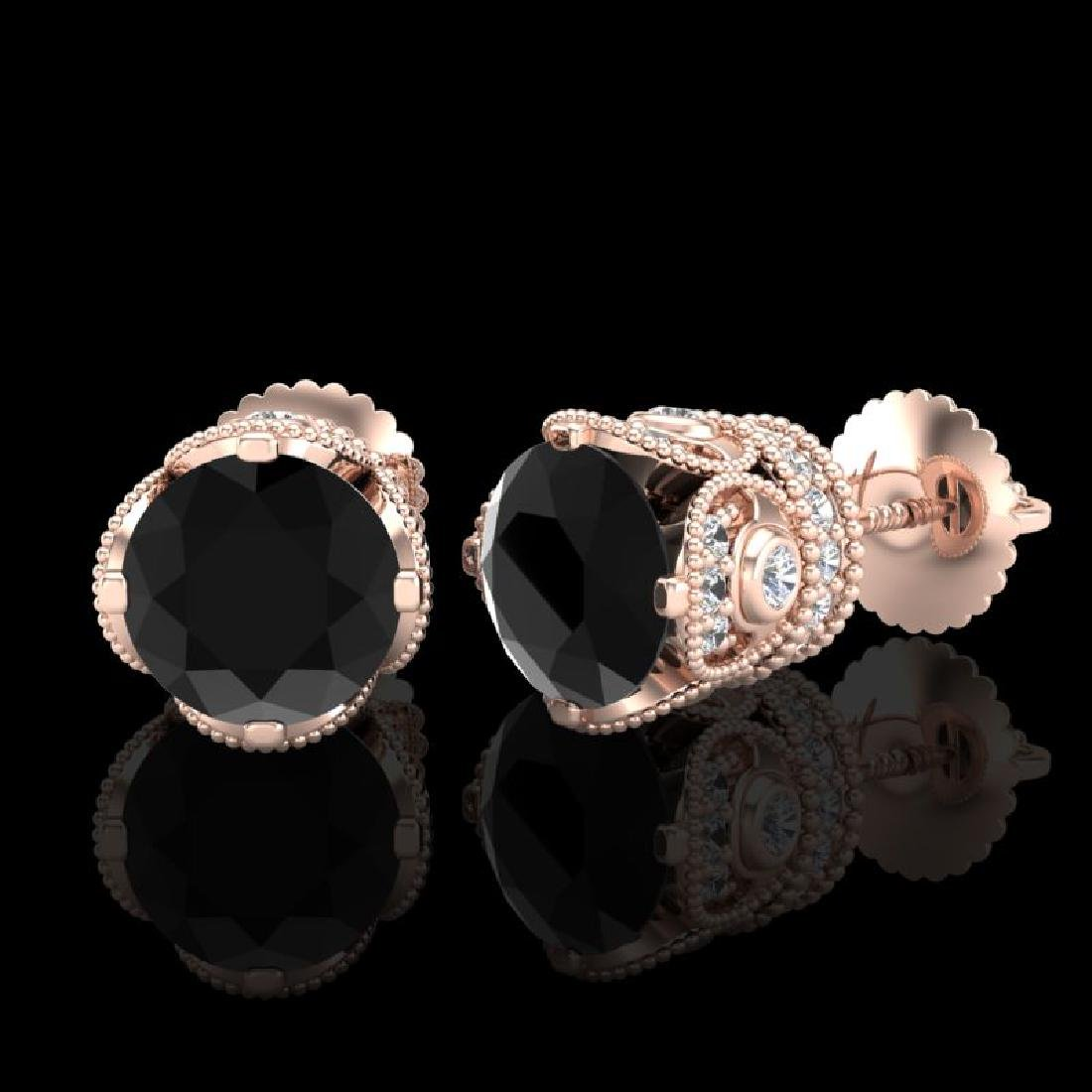 3 CTW Fancy Black Diamond Solitaire Art Deco Stud - 2