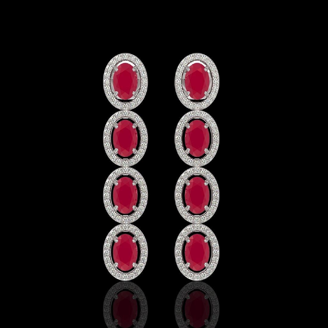 6.47 CTW Ruby & Diamond Halo Earrings 10K White Gold