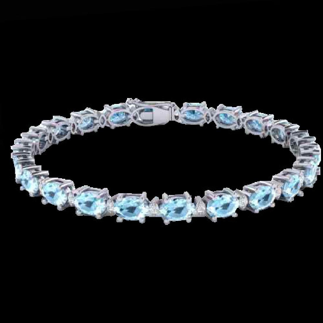 15.9 CTW Aquamarine & VS/SI Certified Diamond Eternity - 2