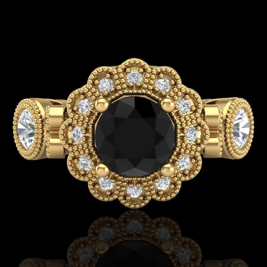 1.5 CTW Fancy Black Diamond Solitaire Art Deco 3 Stone - 2