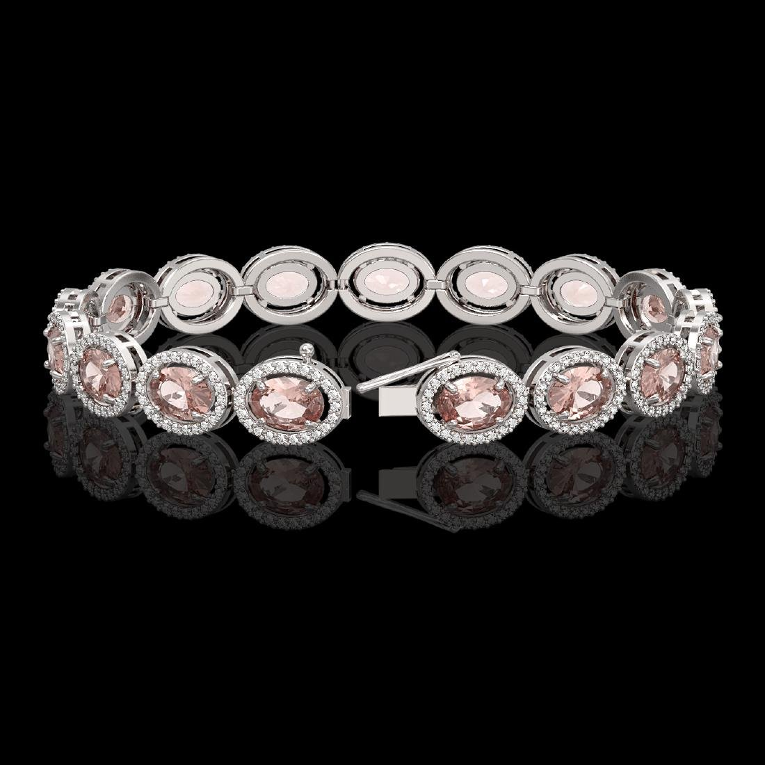 20.18 CTW Morganite & Diamond Halo Bracelet 10K White - 2