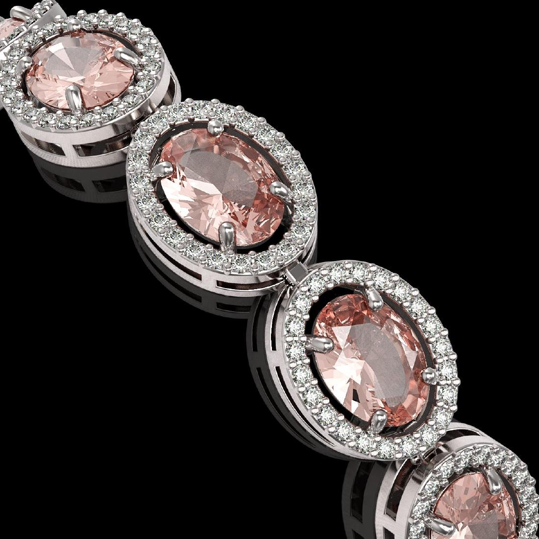 20.18 CTW Morganite & Diamond Halo Bracelet 10K White - 3