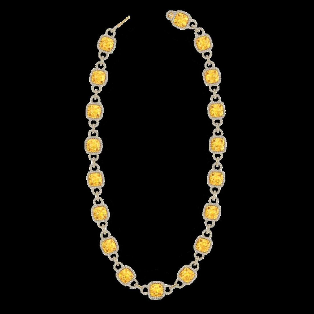 66 CTW Citrine & Micro VS/SI Diamond Eternity Necklace - 2
