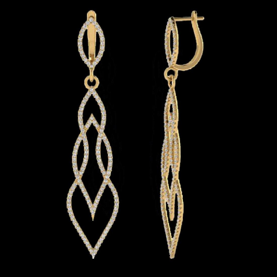 1.90 CTW Micro Pave VS/SI Diamond Earrings 14K Yellow - 2