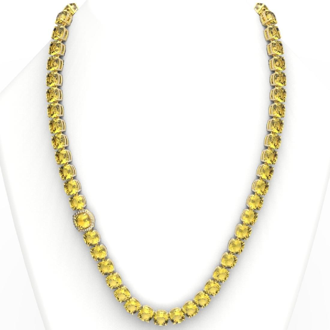 87 CTW Citrine & VS/SI Diamond Halo Micro Pave Necklace - 3
