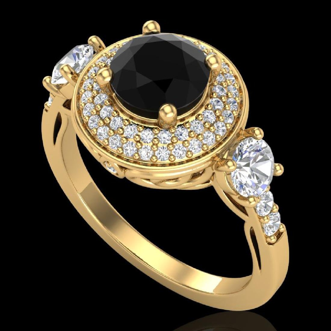 2.05 CTW Fancy Black Diamond Solitaire Art Deco 3 Stone
