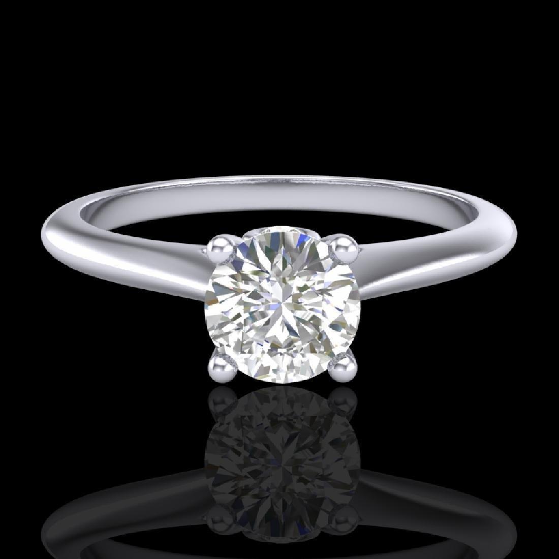 0.56 CTW VS/SI Diamond Solitaire Art Deco Ring 18K - 2