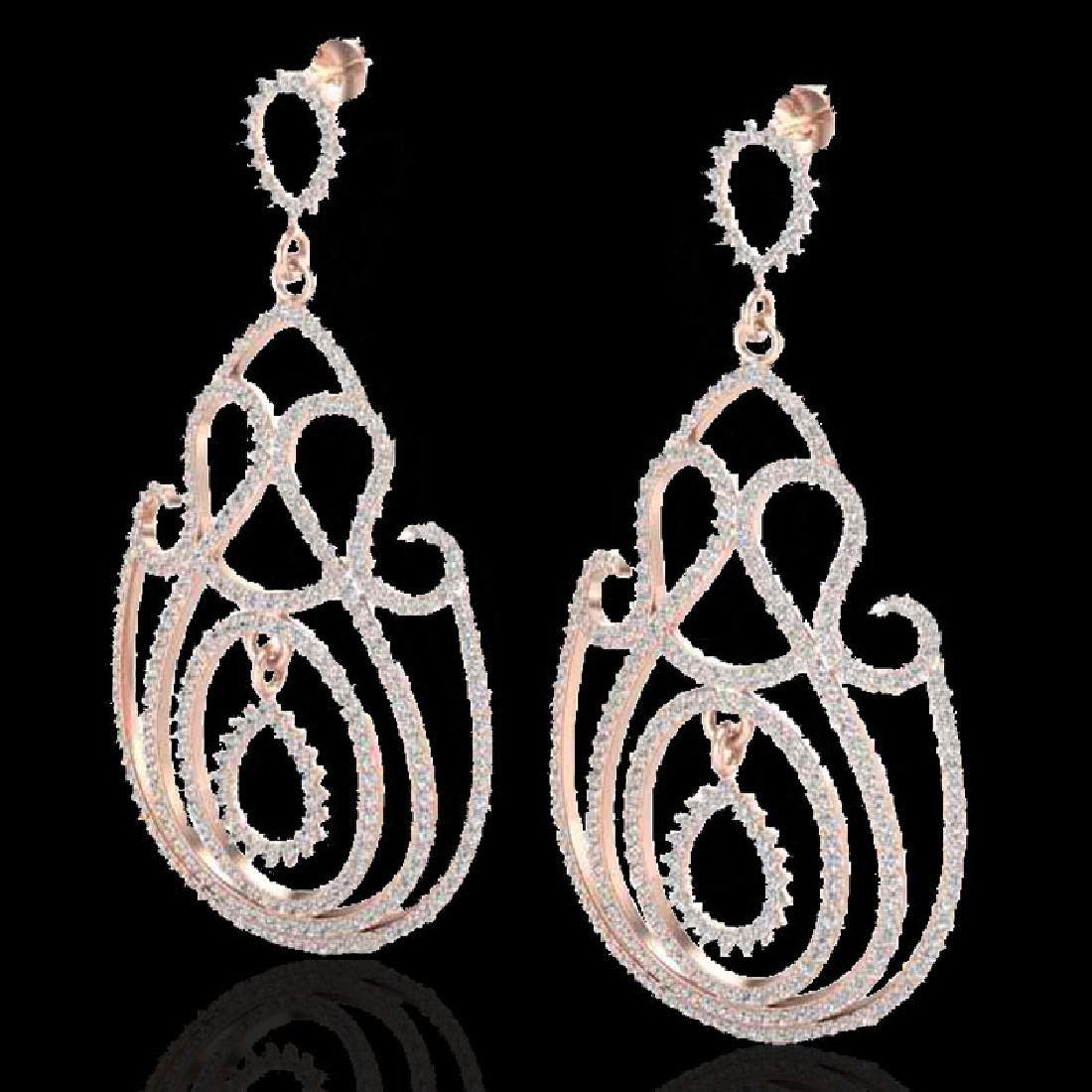 3.50 CTW Micro Pave Designer VS/SI Diamond Earrings 14K