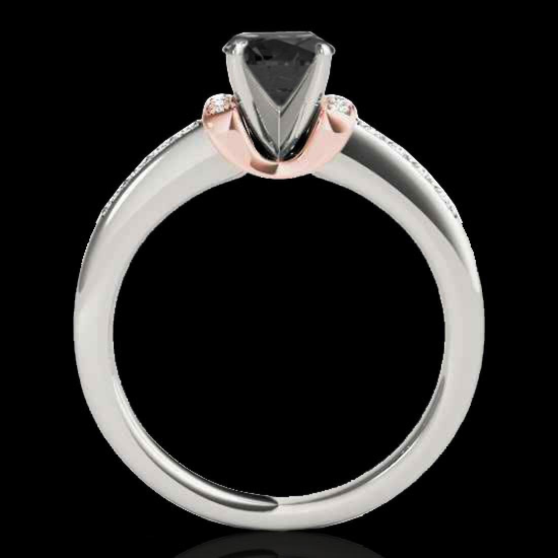 1.11 CTW Certified VS Black Diamond Solitaire Ring 10K - 2