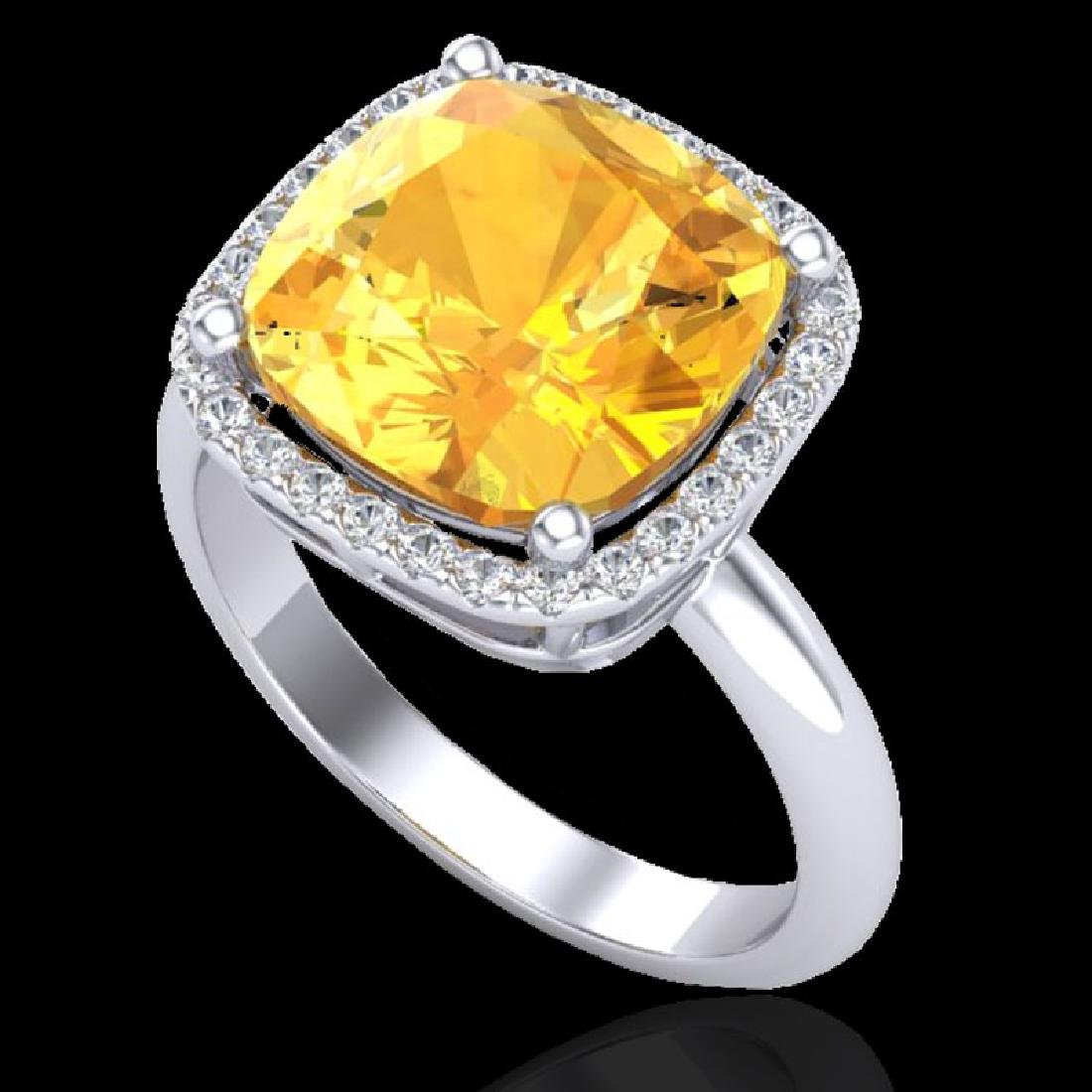 6 CTW Citrine And Micro Pave Halo VS/SI Diamond Ring - 2