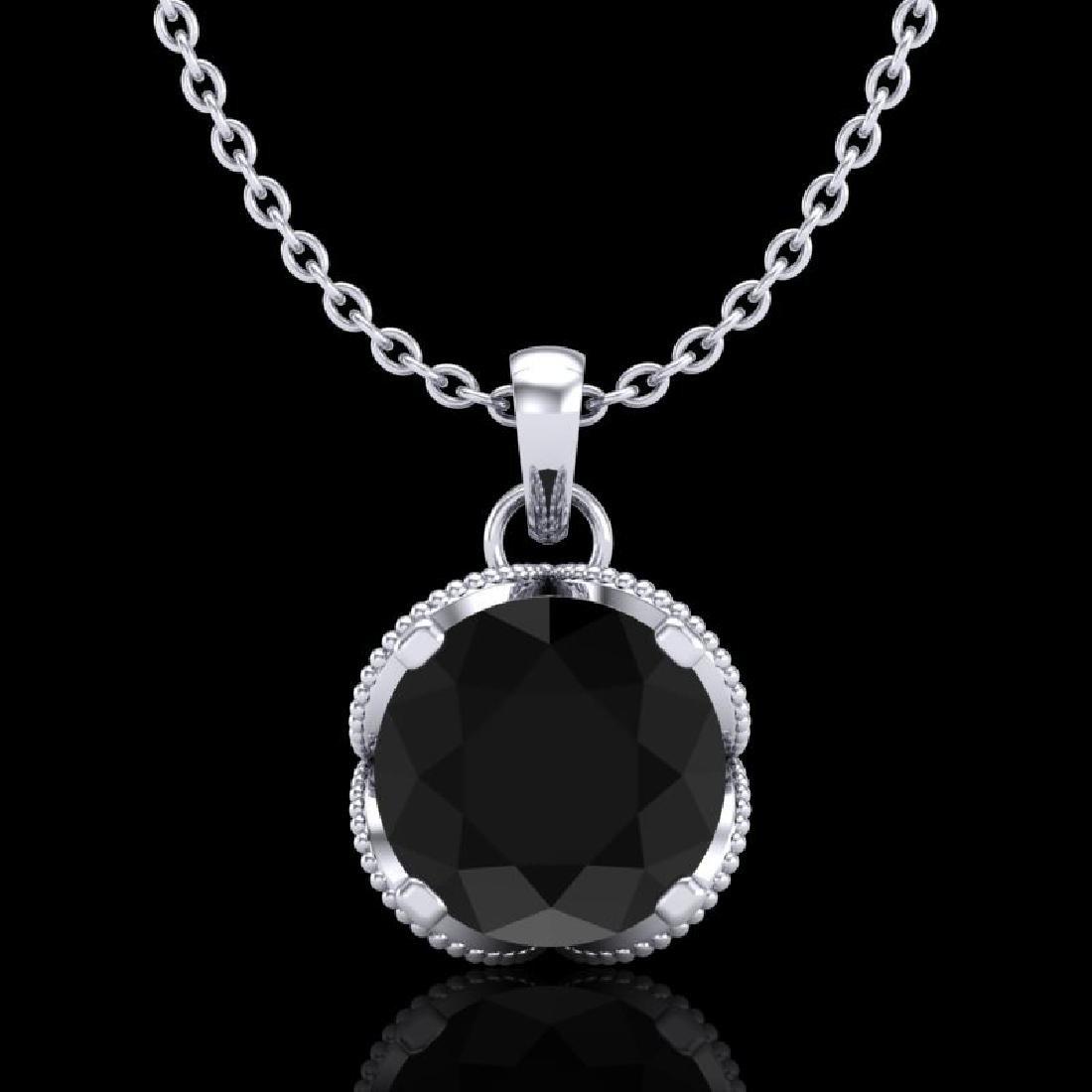 1.13 CTW Fancy Black Diamond Solitaire Art Deco Stud
